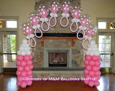 Pretty Pink and Polka Dots balloon topiary in a pot is a great look for a table centrepiece for girls parties or baby showers. Description from pinterest.com. I searched for this on bing.com/images