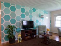 Living Room Hexagon Feature Wall  Submitted by: Corinna H. http://earnyourstripescontest.com/