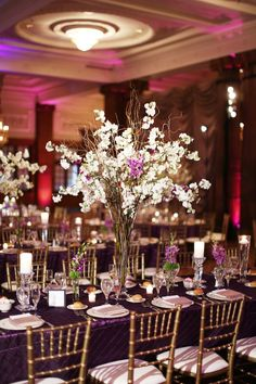 Beautiful Blooms Alison Conklin Crystal Tea Room Purple White and Green Wedding Cherry Blossom Curly Willow Branches