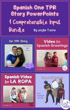 ★ Save money by buying all Angie Torre's TPR Stories and Input in one bundle. They include illustrated TPR Story Power Points, dialogues, puppet shows, videos, readings, cloze activities, and comprehension activities. Concepts include: Classroom Objects, Ser, Tener, Ir, Ir + a + Infinitivo, Vocabulary, Using Two Verbs in a Sentence, Gustar, and much more. See what else is included.