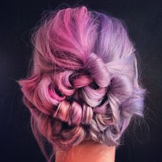 Pastel hair color in pink and purple