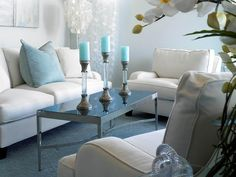 Contemporary Light Blue Wall Living Room with Beige Sofa and White ...