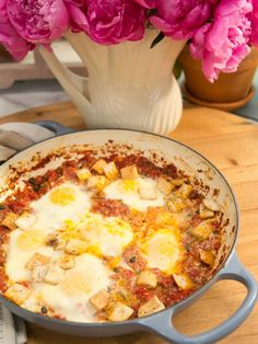 Get Baked Eggs with Green Chiles and Capers Recipe from Food Network