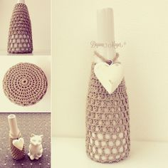 Vase häkeln Idee Vase, Diy, Jars, Plant Pots, Glass, Bricolage, Do It Yourself, Vases, Homemade