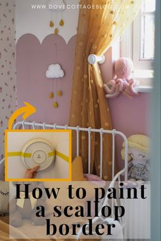 How to paint an on trend scallop border on a wall to transform a childs bedroom or nursery. Follow this simple step by step DIY tutorial using paint to add an on-trend half painted wall to your home - this room uses Hellebore from Little Greene #nurseryinspiration #diy #girlsbedroomdecor Room Wall Painting, Kids Room Paint, Baby Painting, Nursery Paintings, Half Painted Walls, Half Walls, Girl Bedroom Walls, Childs Bedroom, Big Girl Rooms