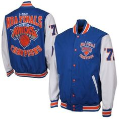 92efd1771 New York Knicks 2X NBA Finals Champs High Point Commemorative Full Button  Jacket - Blue White