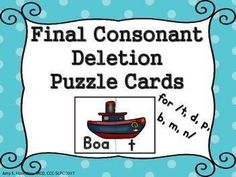 50% off for 24 hours! New for 2015! Reducing final consonant deletion can be difficult when you don't have enough stimulus cards to elicit correct production. This huge unit will help you and your students correct those final consonants. This unit conta