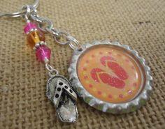 Orange and Pink Flip Flop Bottle Cap Key by PreciousPBoutique, $5.50