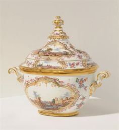 A MEISSEN OVAL TWO-HANDLED TUREEN AND COVER CIRCA 1740, BLUE CROSSED SWORDS MARK TO BASE, PRESSNUMMER 26 TO BASE AND COVER