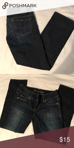American Eagle jean capri's Dark wash, Capri jeans! Worn a couple times, great condition! American Eagle Outfitters Jeans Ankle & Cropped