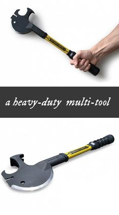 A heavy-duty multi-purpose tool combining the functions of an axe, a claw hammer, a crow bar, and more.