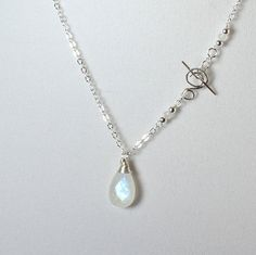 Moonstone Necklace Sterling Silver and by LaurieRobertsJewelry, $46.99