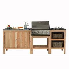 Cuisine ext rieure en bois meubles en bois trait for Meuble cuisine exterieur