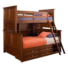 Have to have it. Covington Twin over Full Bookcase Storage Bunk Bed $2205.00