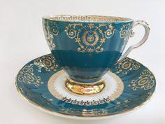 Antique Royal Grafton Tea Cup and Saucer, Aqua Gold Cups, Vintage Tea Cups…