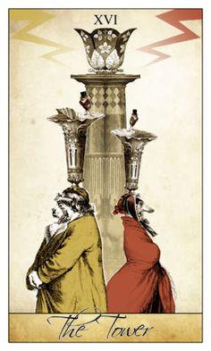 The Tower - Isidore Tarot by Bethalynne Bajema The Tower Tarot Card, Dylan Dog, Black Jesus, Tarot Major Arcana, Oracle Tarot, Cartomancy, Ink Illustrations, Small Art, Tarot Decks