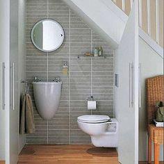 downstairs toilet utility room under stairs ile ilgili görsel sonucu Small Half Bathrooms, Small Space Bathroom, Tiny Bathrooms, Compact Bathroom, Modern Bathroom, Bathroom Storage, Bad Inspiration, Bathroom Inspiration, Understairs Toilet