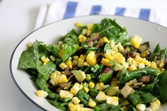 summer salad: eggplant, corn, avocado, green onions & arugula — whats cooking good looking