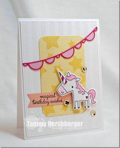 "DIY /""Happy Birthday/"" Avery Elle Carousel Horse Party Handmade Card Kit 4 cards"