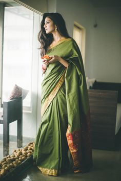 Simple green silk saree has an undeniable charm