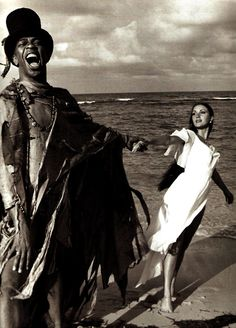 James Bond villain Geoffrey Holder as Baron Samedi and Jane Seymour as Solitaire in Live And Let Die