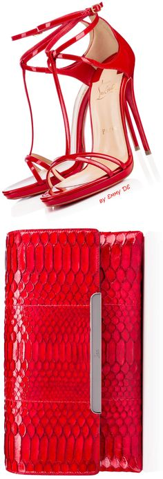 Brilliant Luxury ♦ Christian Louboutin Benedetta Patent Heels  Rougissime Python Clark/Calf Clutch