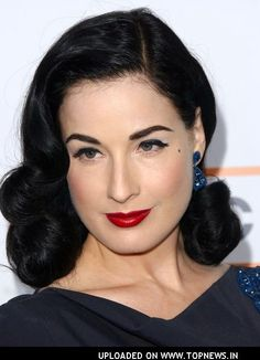 dita von teese hair . this is idealy how I want to do my hair every day. but long.