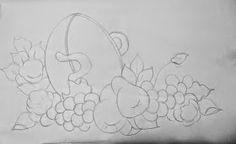 desenho de tacho com frutas e flores para pintar