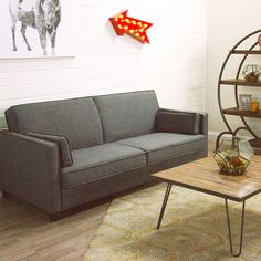 The best apartment sofas and small sectionals: Charcoal Gray Nolee Folding Sofa Bed Small Leather Sofa, Vintage Leather Sofa, Leather Sofa Bed, Spacious Living Room, Living Room Sofa, Beds For Small Spaces, Tiny Spaces, Folding Sofa Bed, Single Sofa