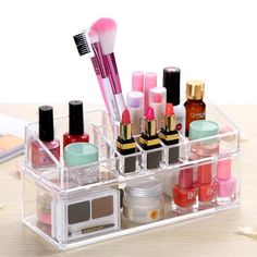 Type: Acrylic Display Stand    Material: Acrylic    Weight: App 490g    Color: Clear    Size: App 23(L)*9(W)*11(H)    Grids: 12        Package Included:     1 X Acrylic Makeup Case (Not included cosmetics)       Warning: Avoid scratching    Do not set heavy items on top of the organizer        Note:     1.More styles than the pictures show, and send it by random!    2.Due to different producing batches, product details might be a little different. If you minding the…