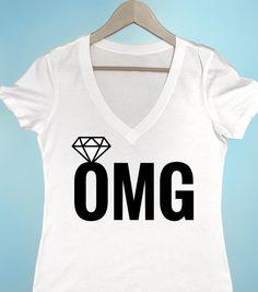 OMG With Diamond T Shirt Bachelorette Party Shirts Womens Bride Tshirt Engaged