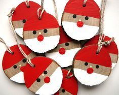 Santa Christmas Ornament 5 Pieces, Rustic Christmas Ornament, Christmas Gift Tag, Wooden Christmas Decorations - Best ROUTINES for Healthy Happy Life Rustic Christmas Ornaments, Wooden Christmas Decorations, Santa Ornaments, Christmas Wood, Christmas Gift Tags, Christmas Crafts For Kids, Holiday Crafts, Santa Christmas, Santa Crafts