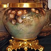 Limoges Breathtaking Jardiniere with Pinecones and Gold Encrusted Plinth/Base