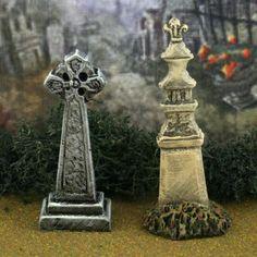 Tombstone Set #17 **by Skinny Bones Designs**Miniature Halloween Village Graveyard Cemetery