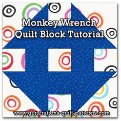 Monkey Wrench quilt block tutorial in four sizes. One of many from our Free Quilt Block Pattern Library.
