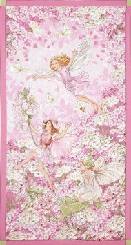 Amazon.com: 44'' Wide Michael Miller Petal Flower Fairies Panel Pink Fabric By The Panel: Arts, Crafts & Sewing