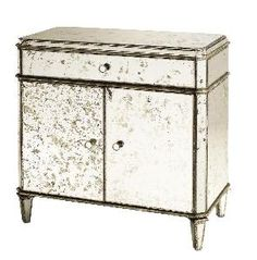 """Antiqued Mirror Sideboard $2,240.00 (USD) This show-stopping piece adds extra flair and glamour  and when packaged is 140lbs. It ships via motor freight. Measures 31""""W X 17""""D X 32""""H. Click on images for greater detail."""