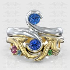 Glorious Custom made Engagement and matching band with Natural Tourmaline, Sapphire, Emerald and Topaz stones / or Gold Bridal Rings, Wedding Rings, Polish Models, Biker Rings, Biker Girl, Unique Rings, Cz Stones, Gold Rings, Engagement Rings