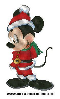 topolino natalizio punto croce