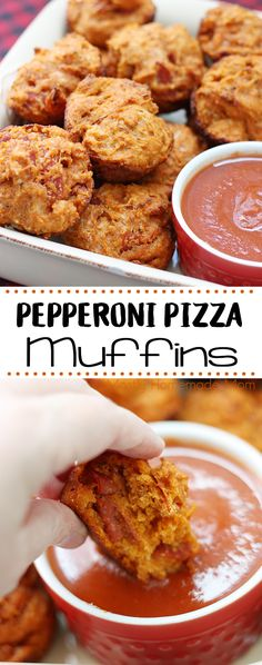 Pepperoni Pizza Muffins are EASY for lunch boxes after school snacks for the kids or football parties! With mozzarella and chopped pepperoni in each bite yum! Your family is going to love this recipe! Pizza Muffins, Savory Muffins, Savory Snacks, Pepperoni Recipes, Pizza Recipes, Skillet Recipes, Party Recipes, Yummy Recipes, Football Parties