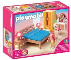 PLAYMOBIL Parents Bedroom by PLAYMOBIL. $18.15. Includes 1 figure, bed, armoire, vanity and bedside lamps that light up. The Parents Bedroom is the perfect place to get some rest after a long day. Playmobil is the largest toy manufacturer in Germany. Figures can bend, sit, stand and turn their heads. Play with this set alone or use it to furnish the Playmobil Large Grand Mansion, sold separately. From the Manufacturer Playmobil Parents Bedroom: Th...
