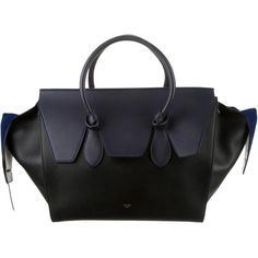 Pre-owned Céline Large Tie Tote (179,590 INR) ❤ liked on Polyvore featuring bags, handbags, tote bags, black, leather tote bags, zip tote, black leather purse, leather zip tote and celine handbags