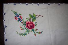 Rectangular Hand embroidered cross stitch tablecloth and three