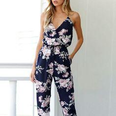 d3d52d86f5 OMSJ Women 2018 New Vintage Floral Print Boho Jumpsuit Deep V-neck Summer  Romper