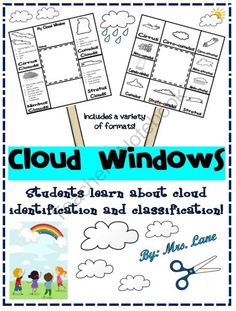 Cloud Windows Giveaway! - *BEST SELLER!* Let your student's discover clouds in a fun and exciting way by making a cloud window! They can learn all about cloud identification and classification with this hand-held frame. Have students cut out the cloud window (pick the one that is level-appropriate for your specific class) and glue it onto a popsicle stock or tongue depressor. If you provide your students with cotton balls and glue, you can also have them make models of the clouds and attach…