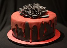 black rose and dripping blood cake