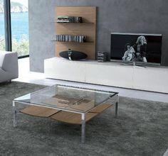 Mesa de centro  de cristal con revistero en madera