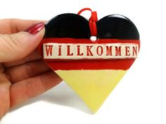 Willkommen Ornament, German Welcome, Germany Flag Ornament, German Kitchen Décor, German Holiday, Housewarming Gift, Oktoberfest Décor