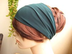 Festive Green Turban Headband Wide Hair Tube by FlowerCityThreads