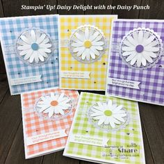 Daisy Delight with Gingham Gala Designer Series Paper Stampin' Up! Daisy Delight with Gingham Gala Designer Series Paper by Kay Kalthoff forStampin' Up! Daisy Delight with Gingham Gala Designer Series Paper by Kay Kalthoff for Handmade Birthday Cards, Greeting Cards Handmade, Daisy Delight Stampin' Up, Stamping Up Cards, Card Sketches, Paper Cards, Thing 1, Flower Cards, Homemade Cards